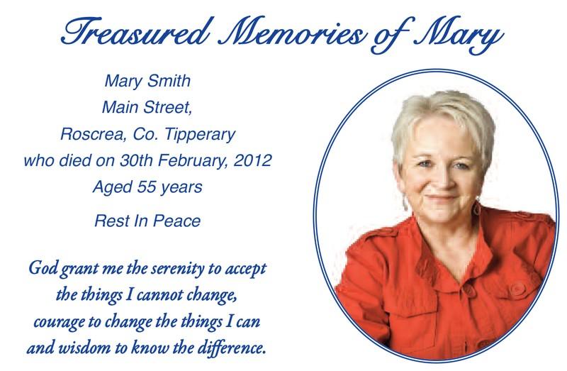Memorial Cards - Walsh Printers
